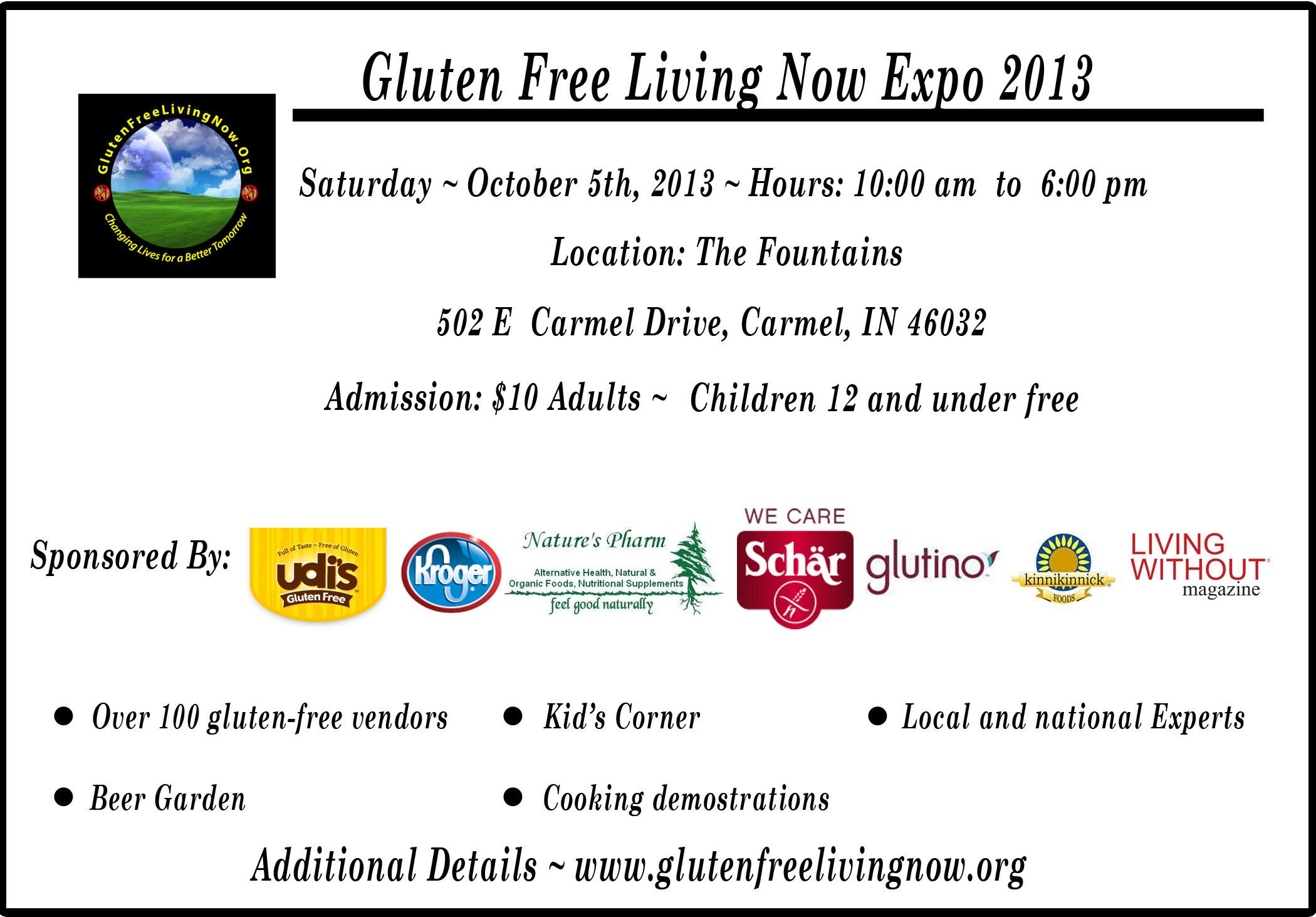 Gluten Free Living Now Expo October 5th in Indiana
