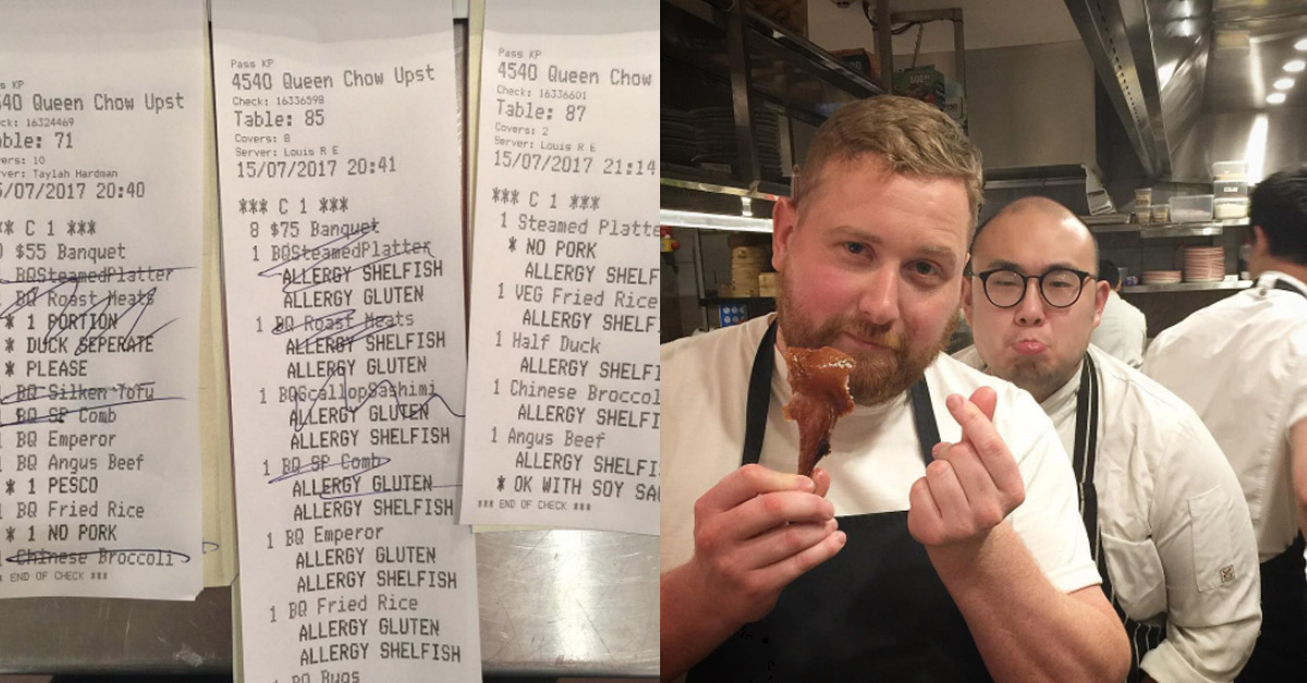 Chef Fed Up with Diners Claiming Fake Allergies