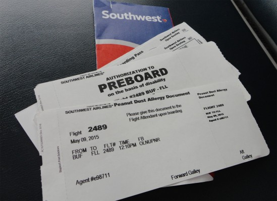 Southwest Airlines Peanut Allergy document and authorization to preboard