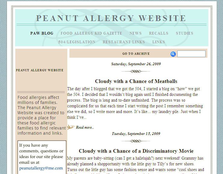 Peanut Allergy Website